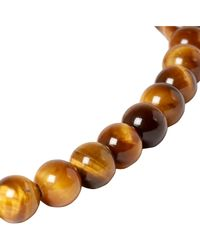 Bottega Veneta - Brown Tiger's Eye Bead And Oxidised Silver Bracelet for Men - Lyst