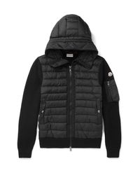 Moncler | Black Maglione Wool-blend And Quilted Shell Hooded Down Jacket for Men | Lyst
