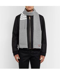 Thom Browne - Gray Striped Merino Wool Scarf for Men - Lyst