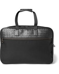 Bottega Veneta - Black Intrecciato Leather And Canvas Duffle Bag With Wheels for Men - Lyst