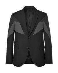 Neil Barrett - Gray Black Slim-fit Panelled Gabardine Blazer for Men - Lyst
