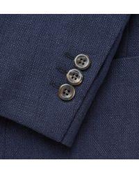 Boglioli Blue Navy Slim-fit Unstructured Basketweave Linen And Cotton-blend Blazer for men