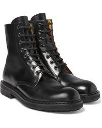 Alexander McQueen | Black Leather Combat Boots for Men | Lyst