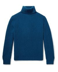 Mp Massimo Piombo - Blue Honeycomb-knit Wool Rollneck Sweater for Men - Lyst