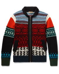 Burberry - Multicolor Patterned Wool, Cashmere And Cotton-blend Zip-up Cardigan for Men - Lyst