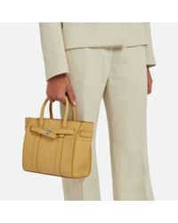 Mulberry - Mini Zipped Bayswater In Golden Yellow Cross Grain Leather - Lyst