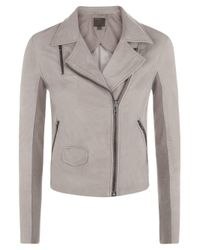 Muubaa | Gray Gulrro Grey Leather Biker Jacket | Lyst