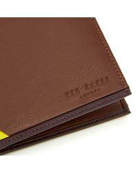 Ted Baker - Brown Corner Detail Bi Fold Wallet for Men - Lyst
