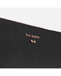 Ted Baker - Black Suzette Leather Double Zipped Cross Body Bag - Lyst