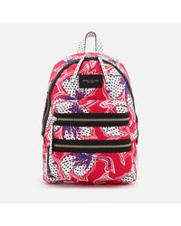 Marc Jacobs - Red Nylon Printed Backpack - Lyst
