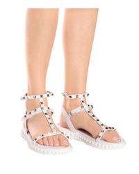 Valentino - White Free Rockstud Leather Sandals - Lyst