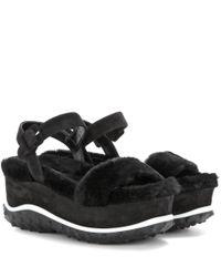 Miu Miu - Black Fur and Suede Platform Sandals - Lyst