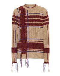 Tory Burch - Natural Eden Plaid Wool-blend Sweater - Lyst