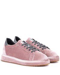 Brunello Cucinelli - Pink Velvet Sneakers - Lyst