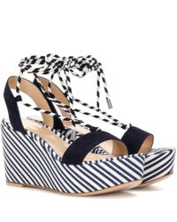Gianvito Rossi - Blue Antibes Mid Suede Wedge Sandals - Lyst