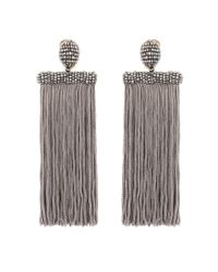 Oscar de la Renta | Gray Clip-on Tassel Earrings | Lyst