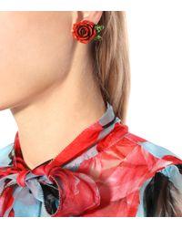 Dolce & Gabbana - Red Rose Resin Earrings - Lyst
