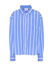 Vetements - Blue Striped Cotton Shirt - Lyst