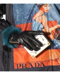 Prada - Black Fur-trimmed Leather Gloves - Lyst