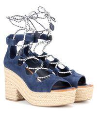 Tory Burch - Blue Positano Suede Platform Espadrille Sandals - Lyst