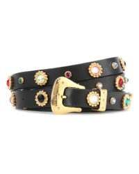 Dodo Bar Or - Black Crystal-embellished Leather Belt - Lyst