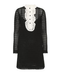 RED Valentino - Black Knitted Wool Mini Dress - Lyst
