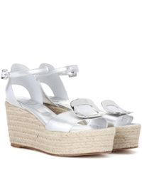 Roger Vivier - Corda Chips Metallic Leather Wedge Sandals - Lyst