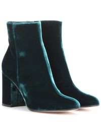 Gianvito Rossi - Green Rolling 85 Velvet Ankle Boots - Lyst