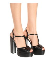 Fendi - Black Platform Leather Sandals - Lyst