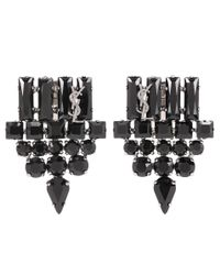 Saint Laurent - Black Crystal-embellished Clip-on Earrings - Lyst