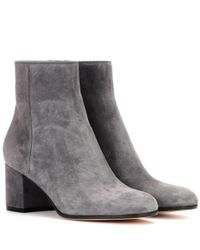 Gianvito Rossi - Gray Margaux Mid Suede Ankle Boots - Lyst