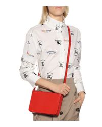 Burberry - Red Leather Crossbody Bag - Lyst