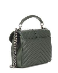Saint Laurent - Green Medium Collège Monogram Leather Shoulder Bag - Lyst