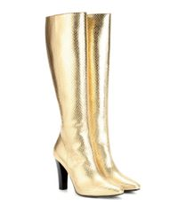 Saint Laurent - Lily 95 Metallic Leather Boots - Lyst