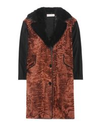 Marni - Brown Wool And Fur-blend Coat - Lyst