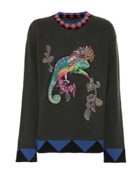 Etro - Multicolor Embroidered Wool Sweater - Lyst