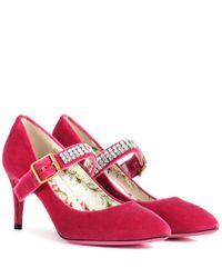 Gucci - Pink Embellished Velvet Pumps - Lyst