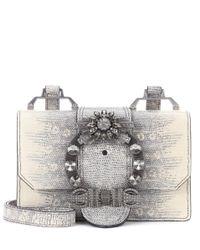 Miu Miu - Gray Embellished Leather Shoulder Bag - Lyst