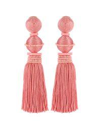 Oscar de la Renta - Pink Tasseled Clip-on Earrings - Lyst