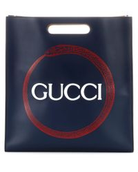 Gucci - Blue Printed Leather Tote - Lyst