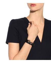 Alexander McQueen - Black Embellished Leather Bracelet - Lyst