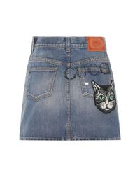 Gucci - Blue Embroidered Denim Miniskirt - Lyst