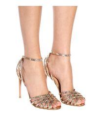 Aquazzura - Metallic Studio 105 Sequined Leather Sandals - Lyst
