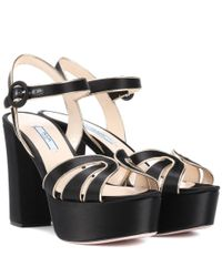 Prada - Black Satin Plateau Sandals - Lyst