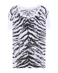 Saint Laurent - White Tiger Print T-shirt - Lyst