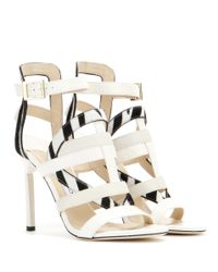 Jimmy Choo | White Vanquish Snakeskin And Leather Sandals | Lyst