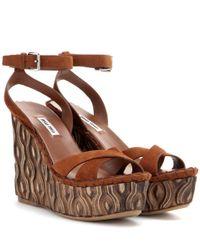 Miu Miu | Brown Suede Platform Wedge Sandals | Lyst