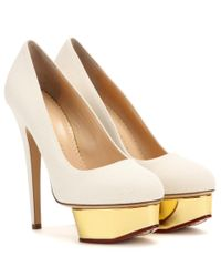 Charlotte Olympia | White Dolly Canvas Platform Pumps | Lyst