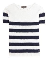 Loro Piana - White Striped Cotton Sweater - Lyst