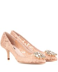 Dolce & Gabbana - Natural Bellucci Embellished Lace Pumps - Lyst